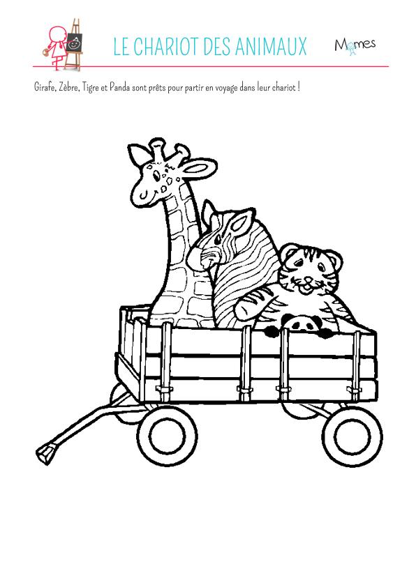 Coloriage chariot des animaux