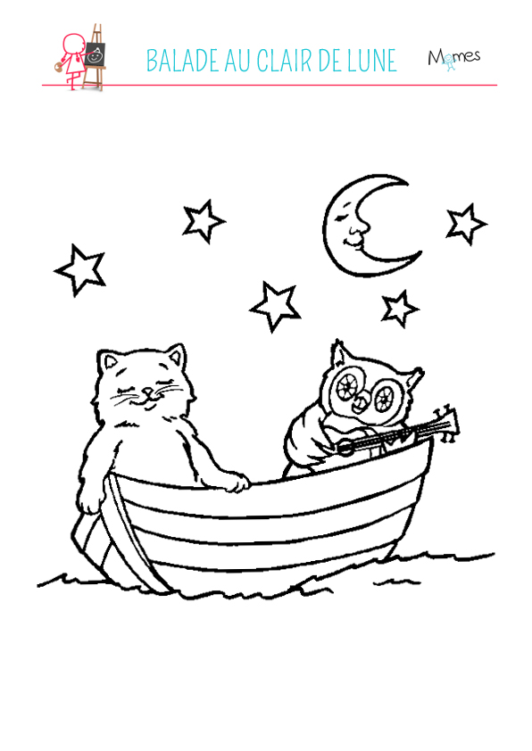 Coloriage chat et chouette au clair de lune - Coloriage de bebe chat ...