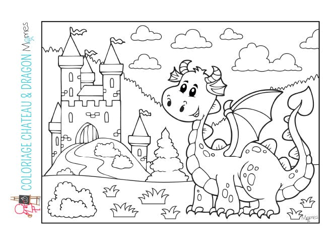 Coloriage Chateau Et Dragon Momes Net