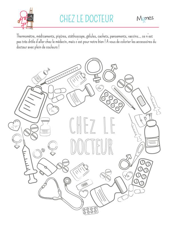 Coloriage : chez le docteur