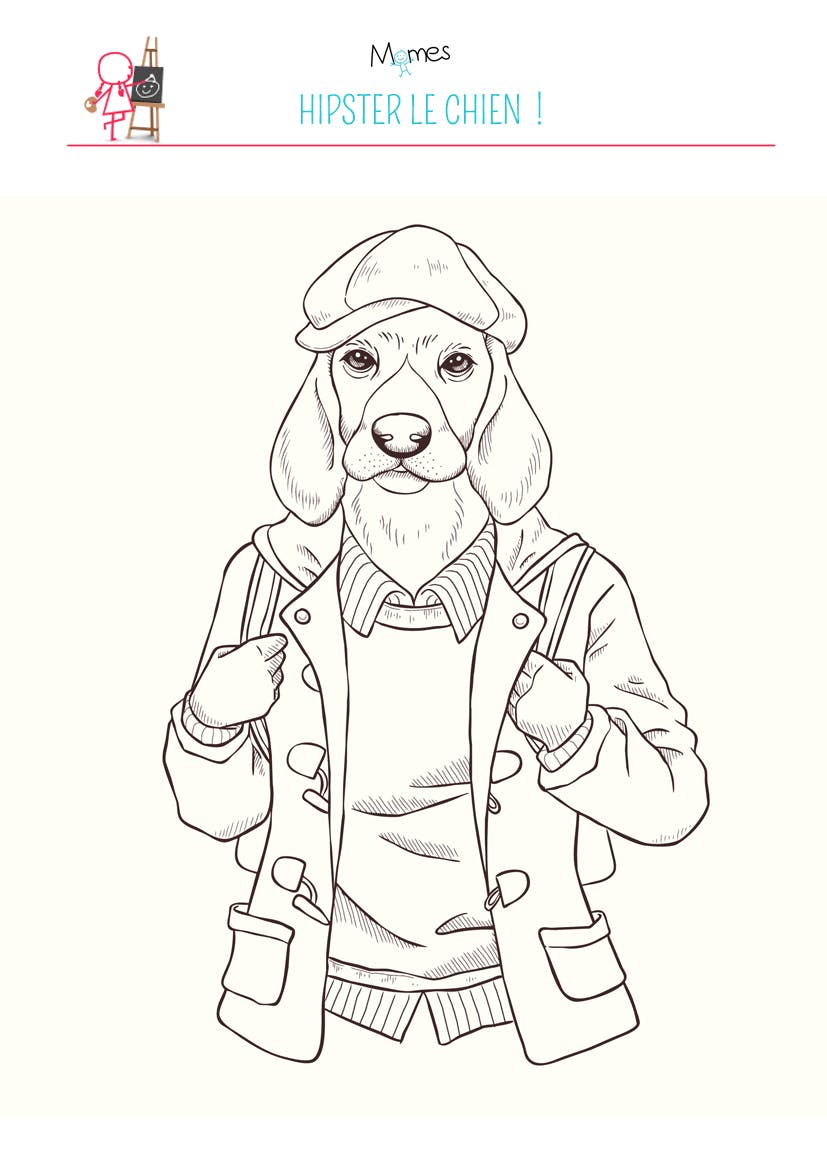 coloriage chien hipster - Coloriage Chien