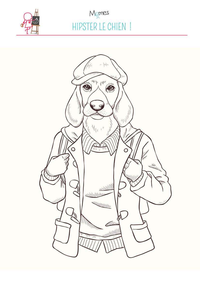 Coloriage chien hipster - Coloriage de chien ...
