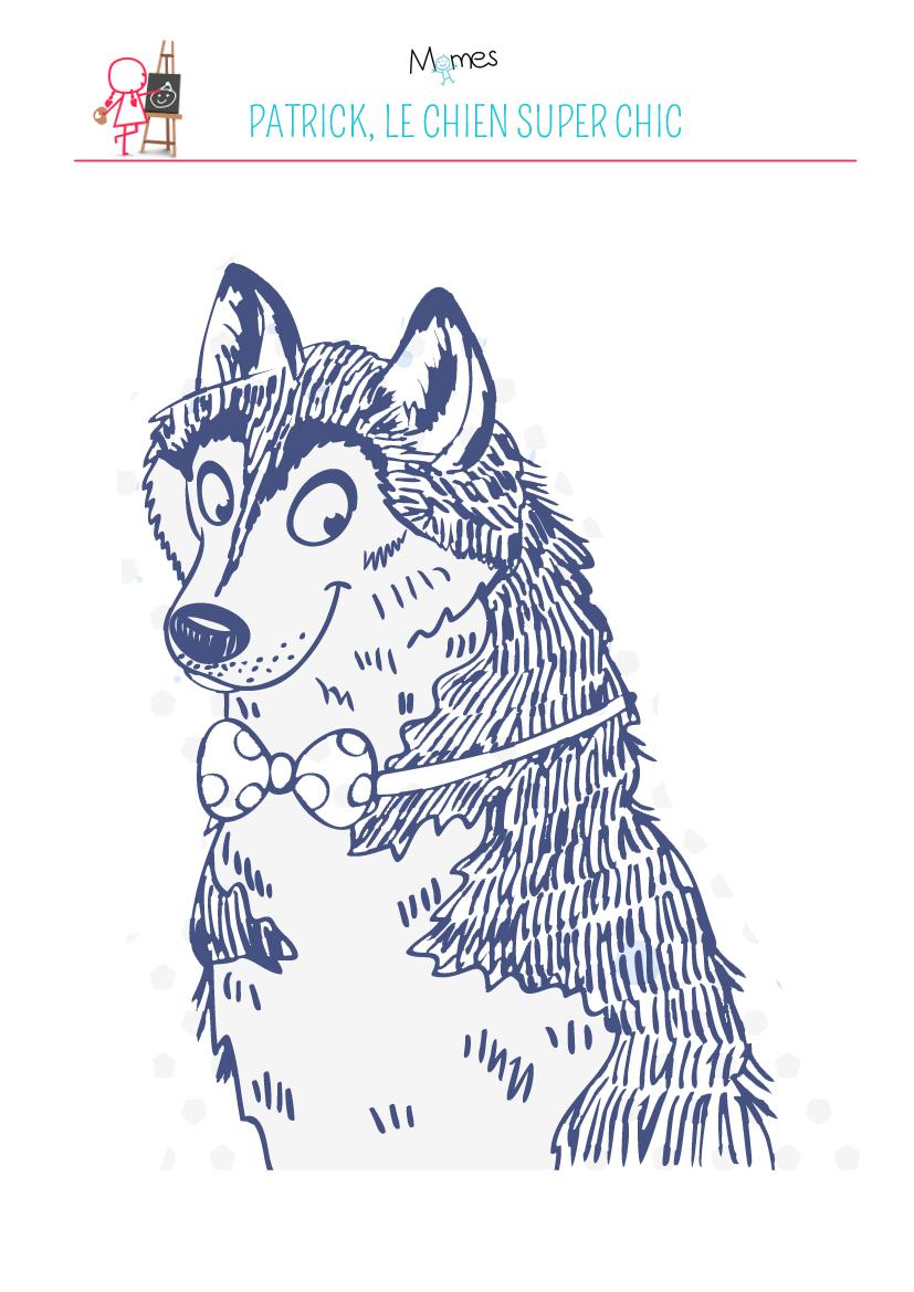 Coloriage chien super chic !