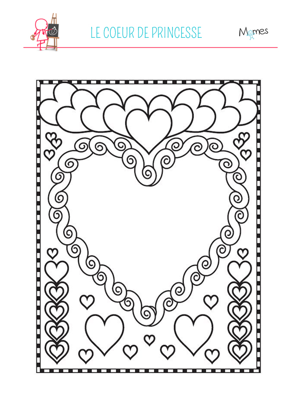 Coloriage coeurs de princesse - Dessins coeurs ...