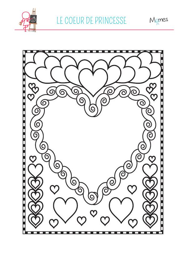 Coloriage coeurs de princesse - Coeur coloriage ...
