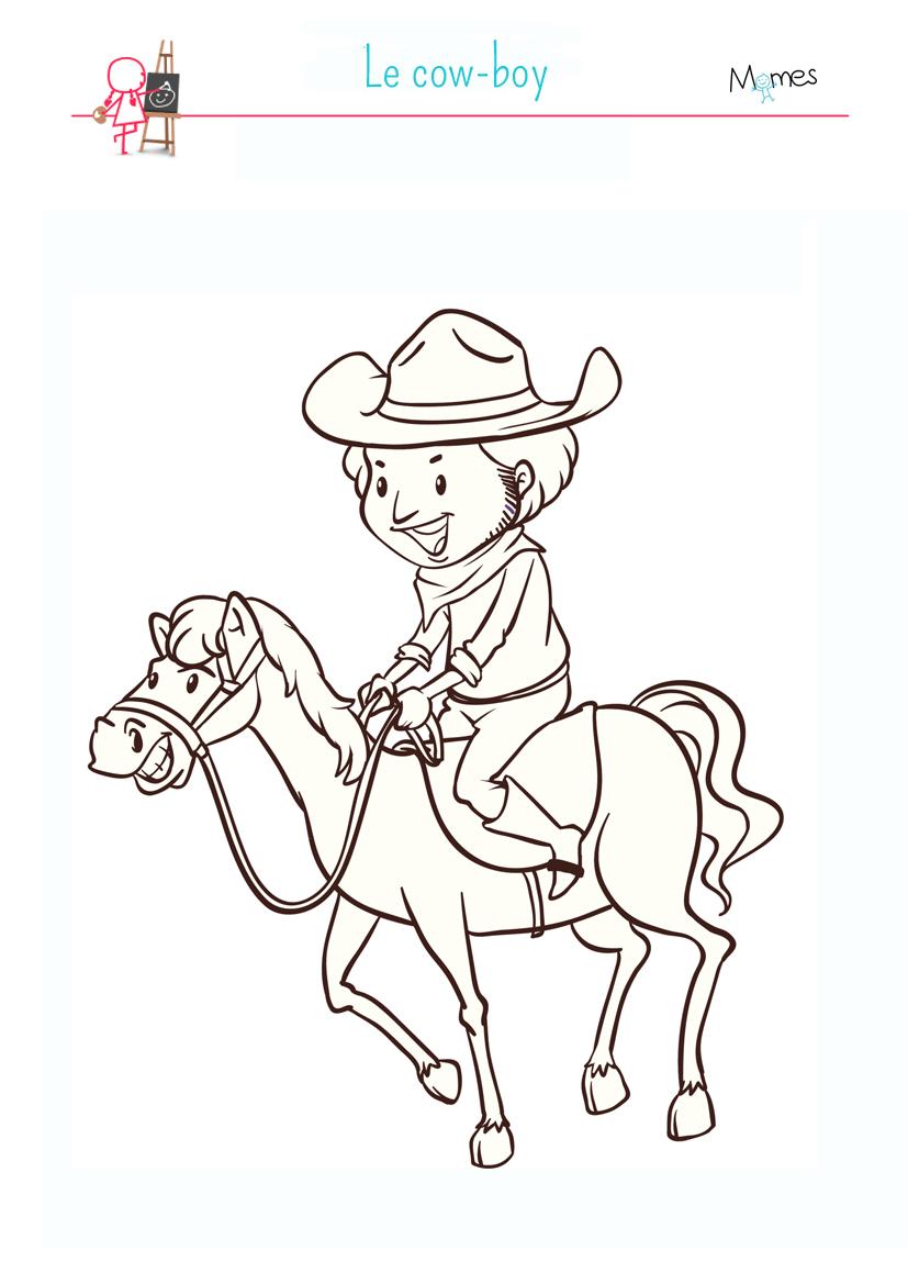 Coloriage cow boy - Coloriages cheval ...
