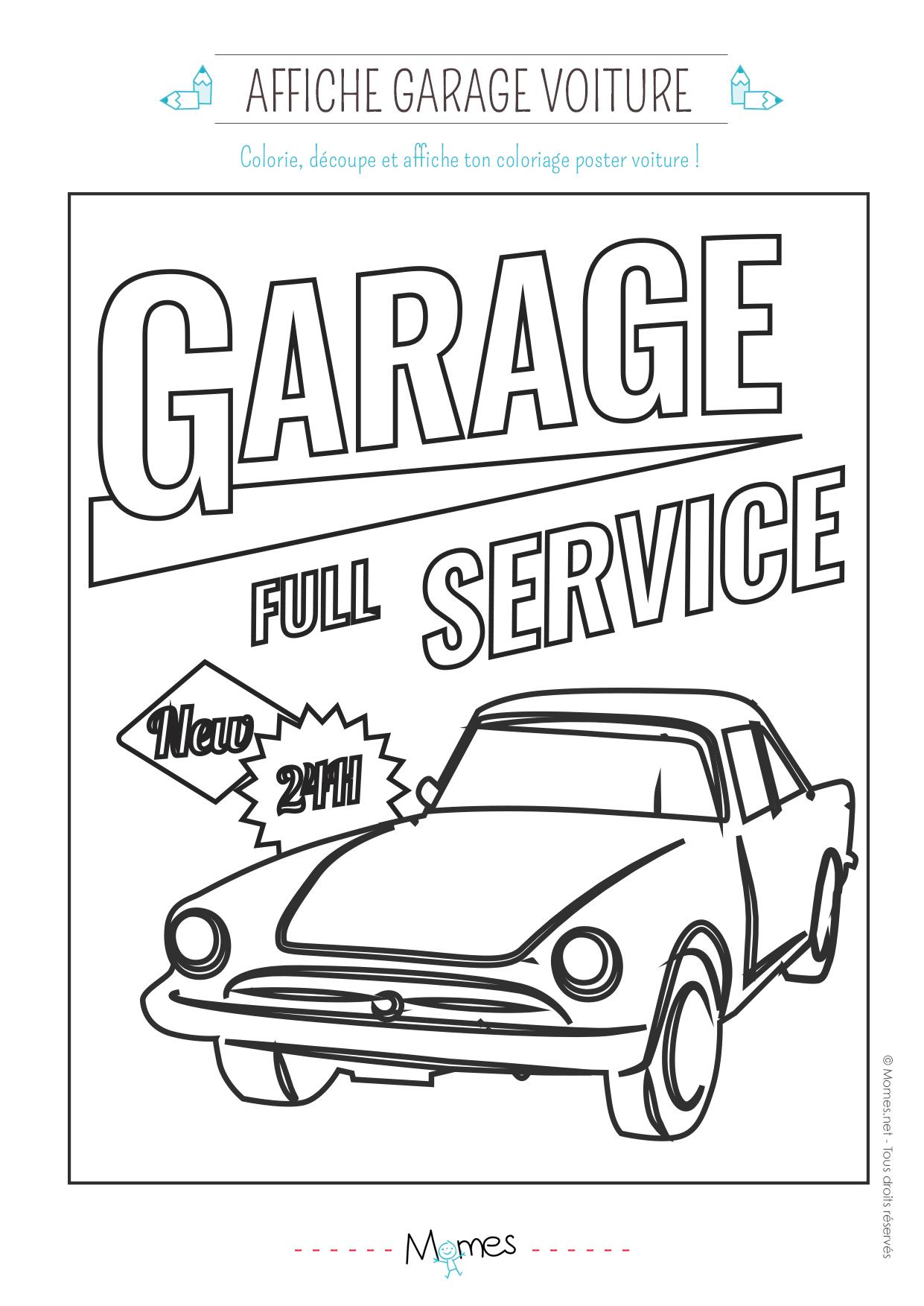 coloriage d'un garage service pour voiture - Momes.net