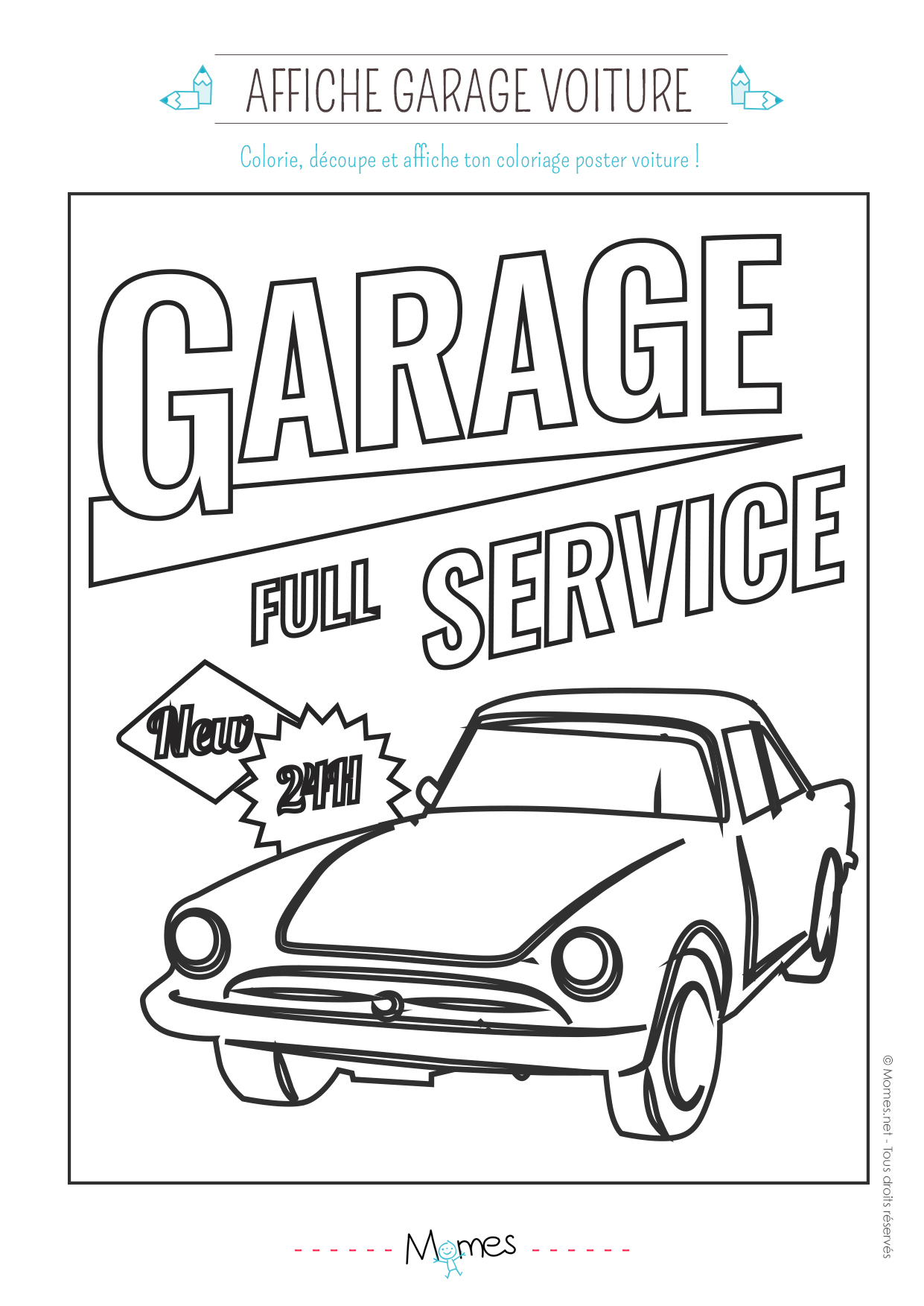 Coloriage d 39 un garage service pour voiture for Garage autoservices les ulis
