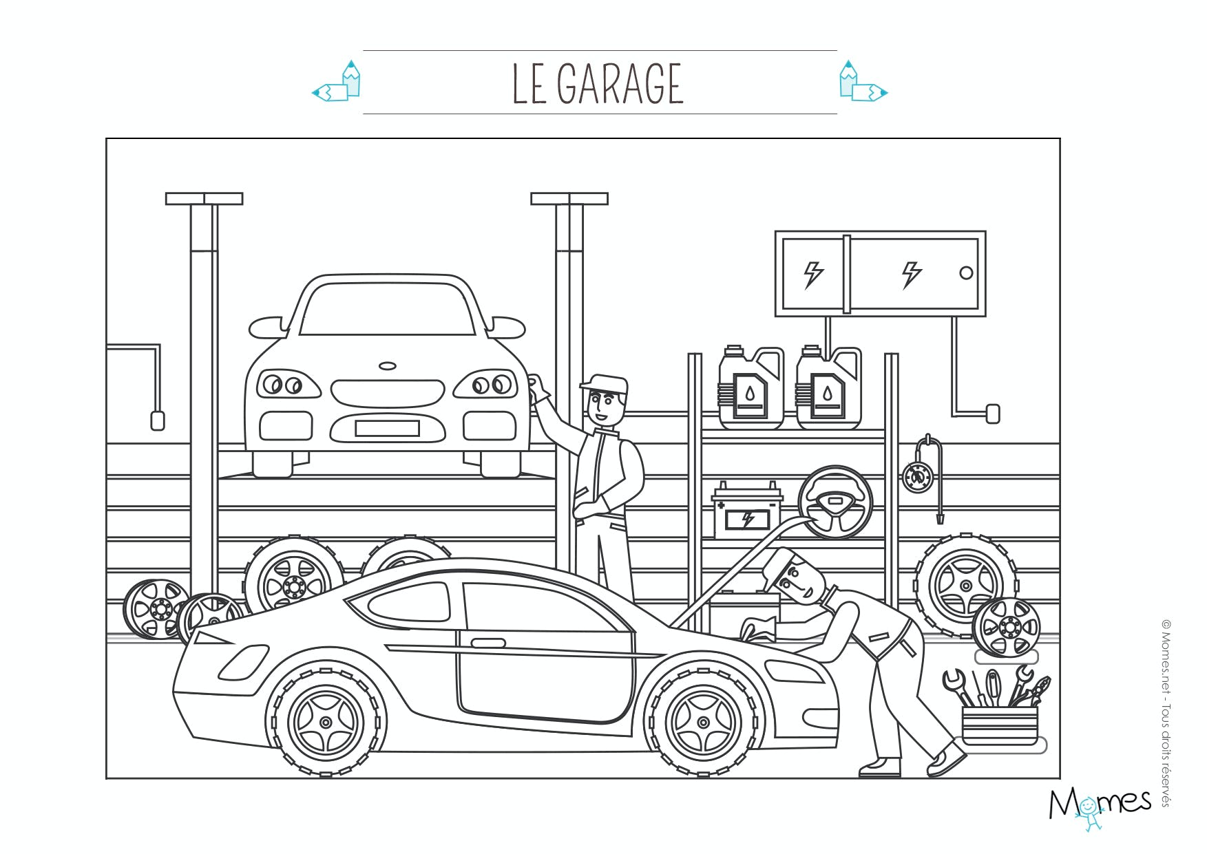 Coloriage le garage automobile - Dessin garage ...