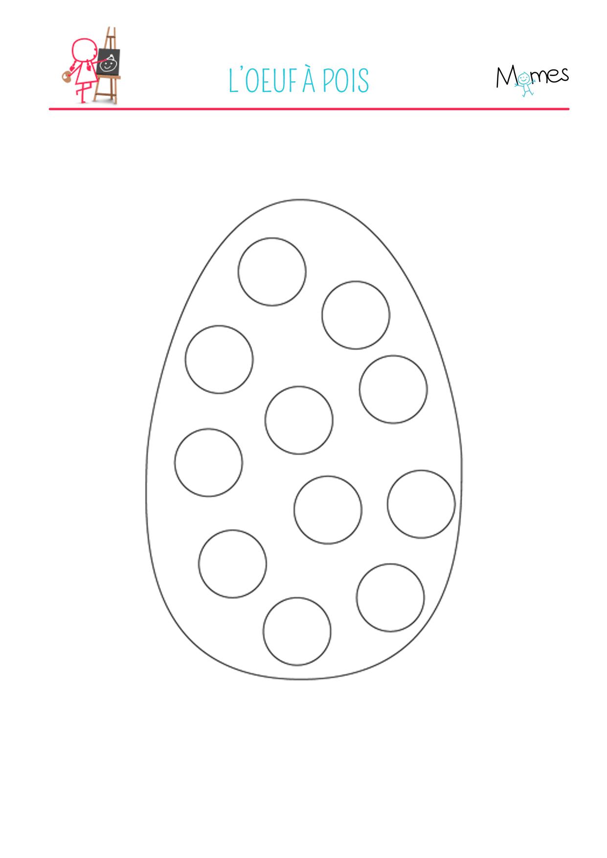 Coloriage de l'œuf de Pâques à pois