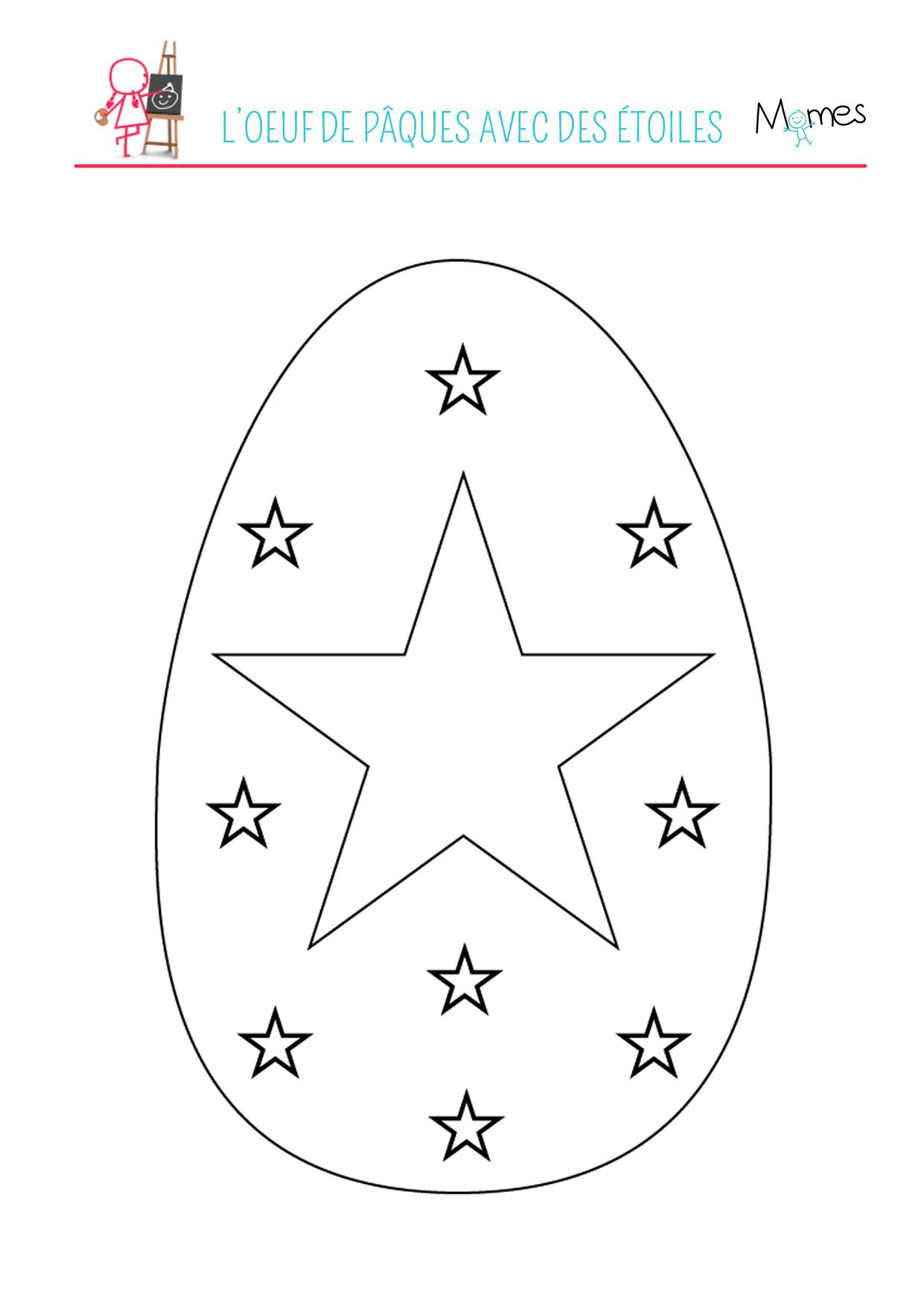 Coloriage de l'œuf de Pâques avec des étoiles
