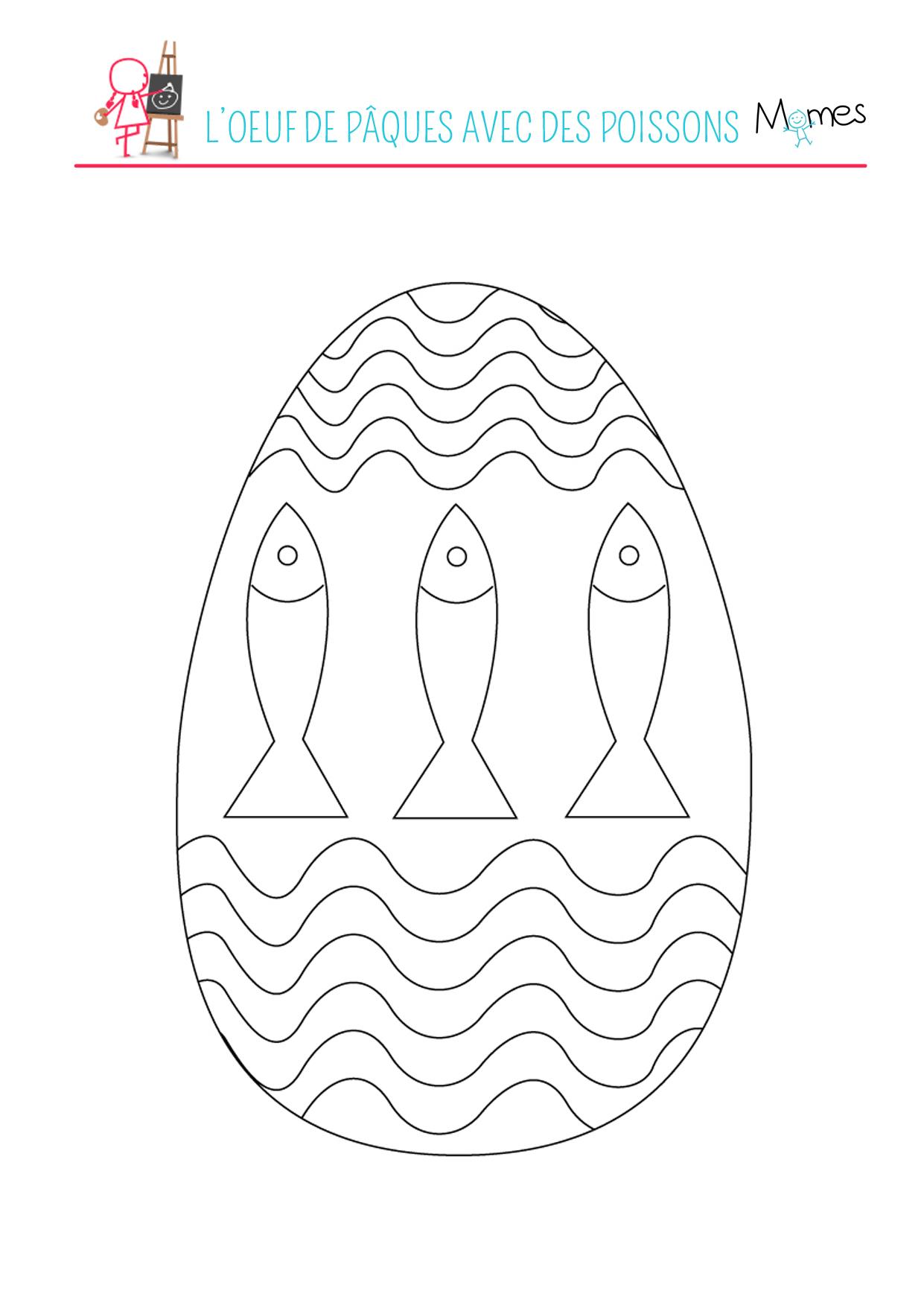 Coloriage de l'œuf de Pâques avec des poissons