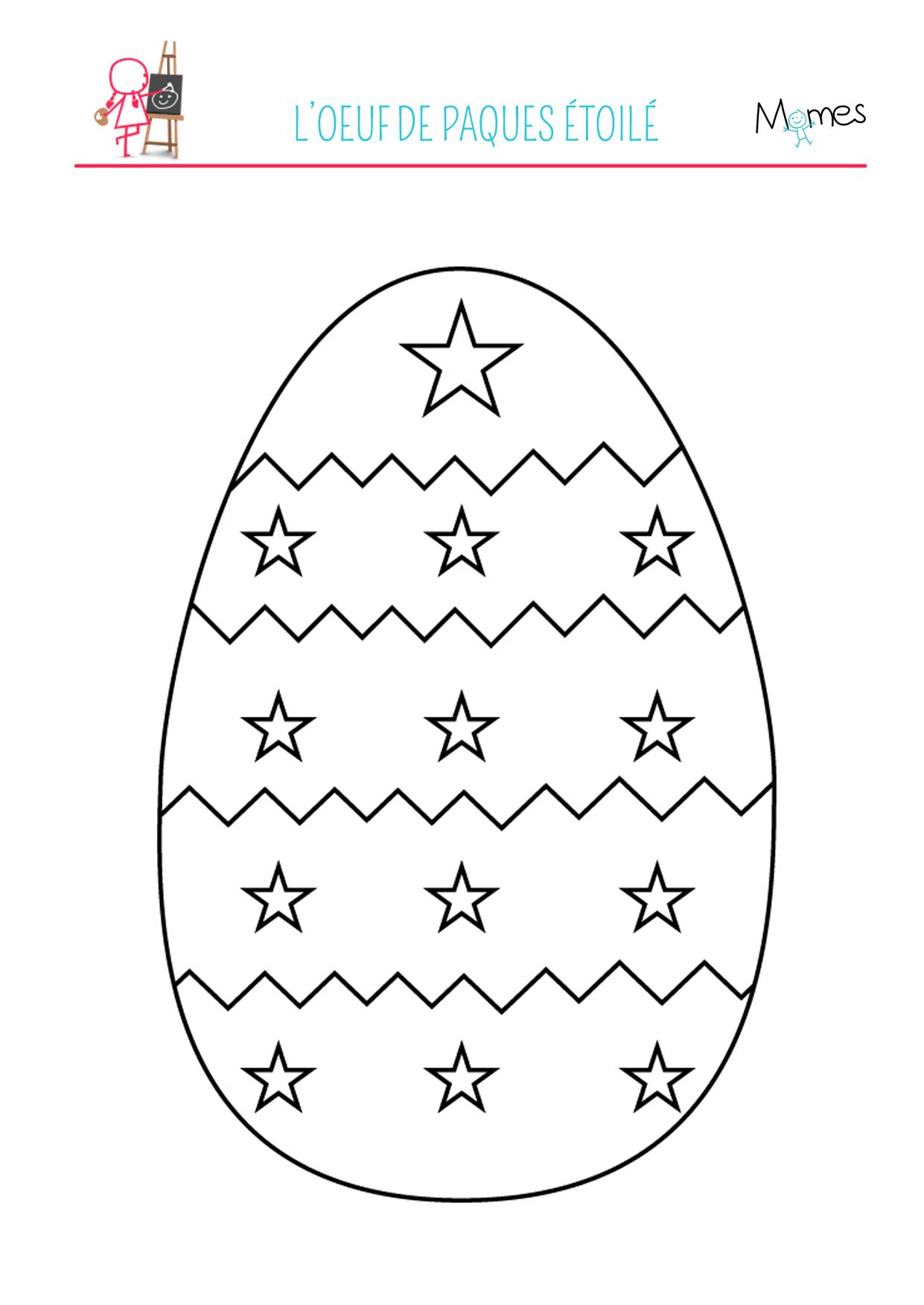 Coloriage de l'œuf de Pâques étoilé
