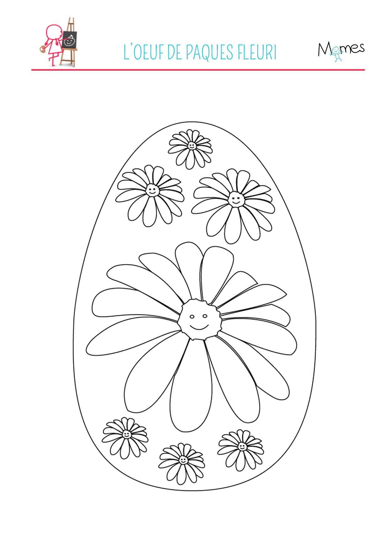 Coloriage de l 39 uf de p ques fleuri - Coloriages oeufs de paques ...