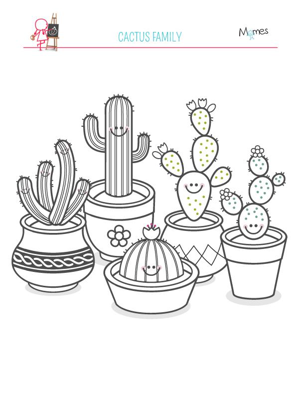 Coloriage de la famille cactus - Coloriage cactus ...