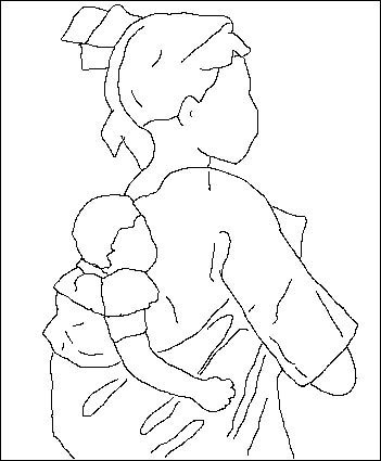 Coloriage de la mère et l'enfant d'après Toffoli