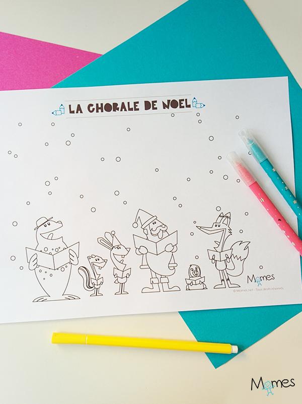 Coloriage de Noël : la chorale du Père Noël !