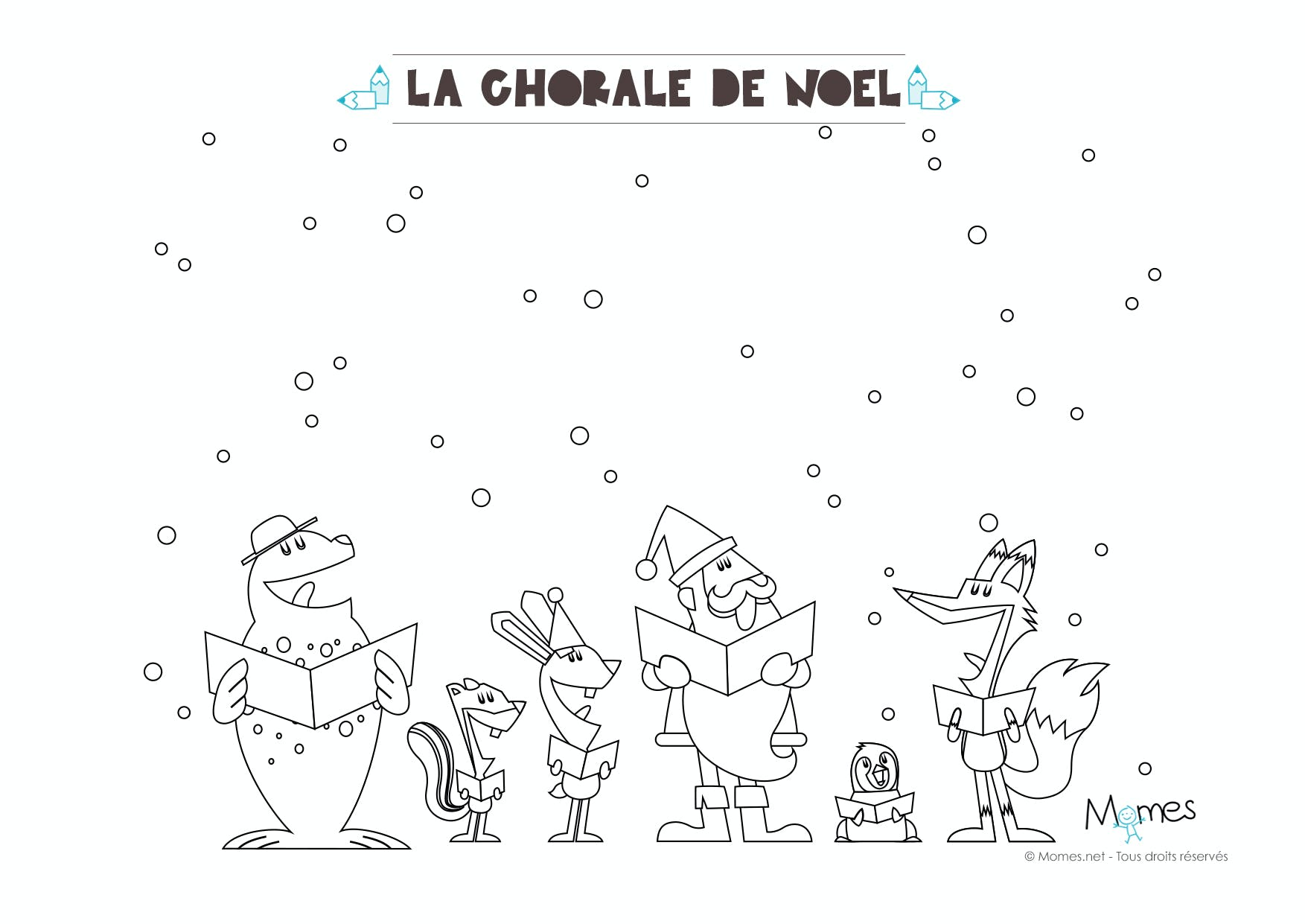 Coloriage de no l la chorale du p re no l - Coloriage chorale ...