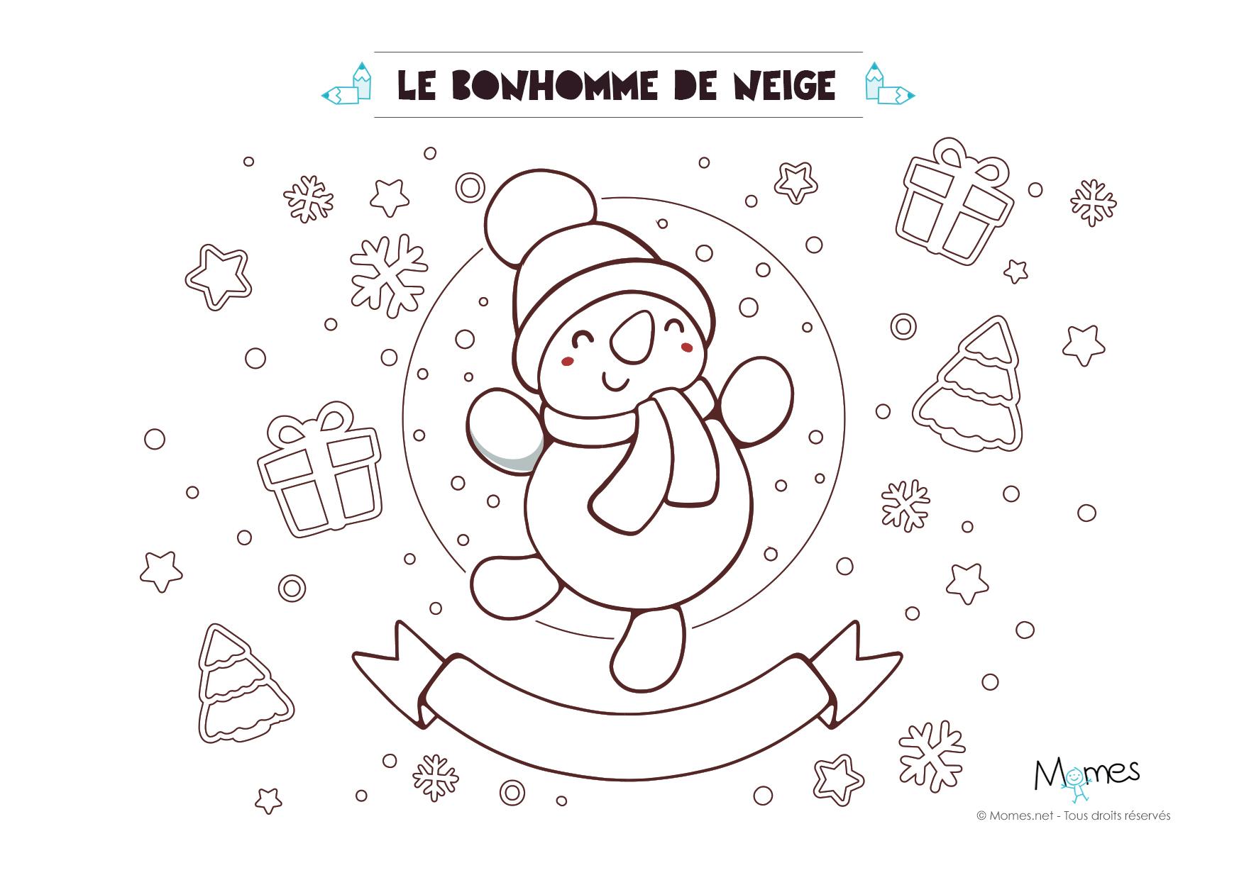 Coloriage de no l le bonhomme de neige - Bonhomme de neige coloriage ...