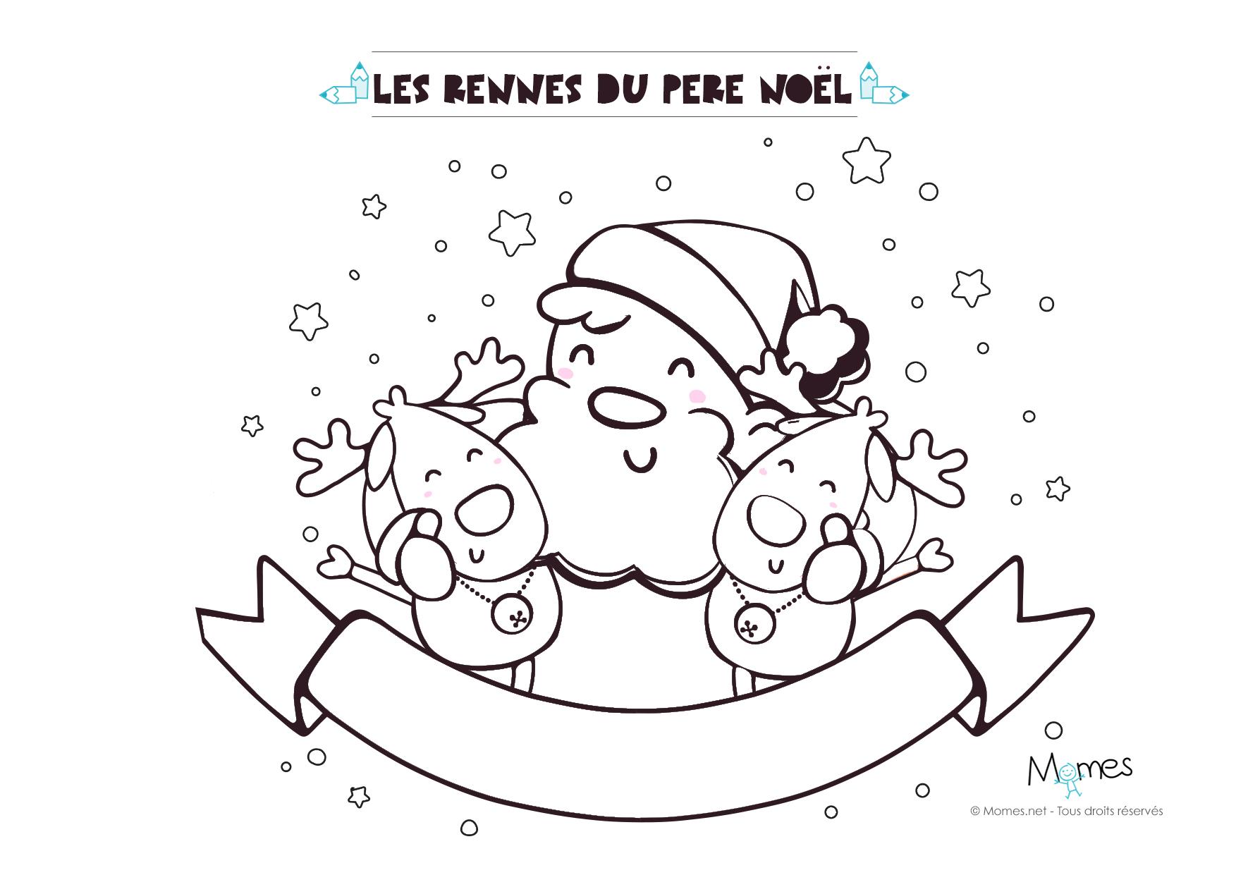 Coloriage de no l le p re no l et ses rennes - Image rennes noel ...