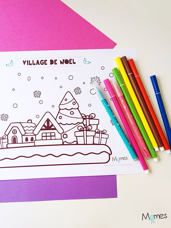 Coloriage de Noël : le village