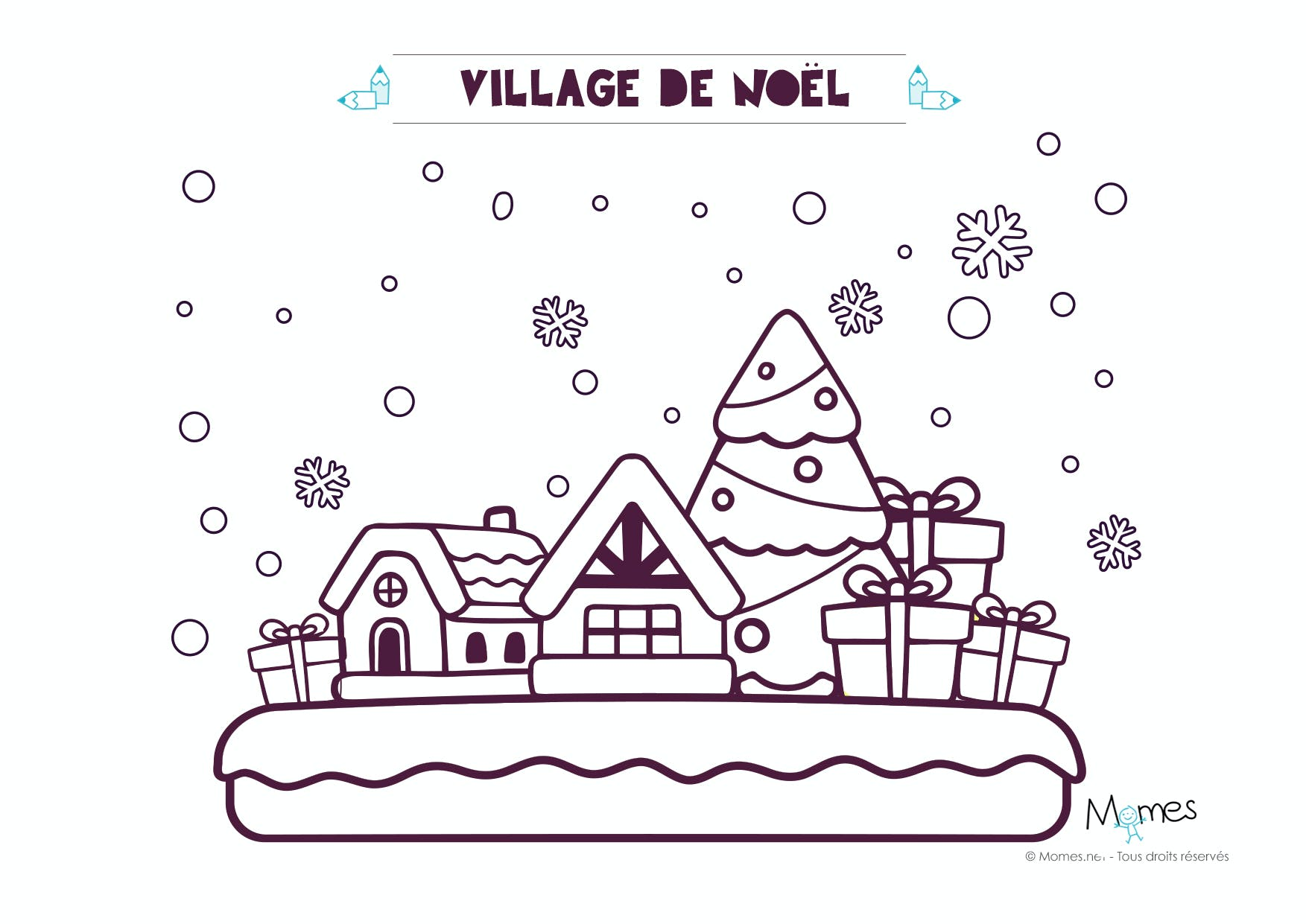 coloriage village de noel