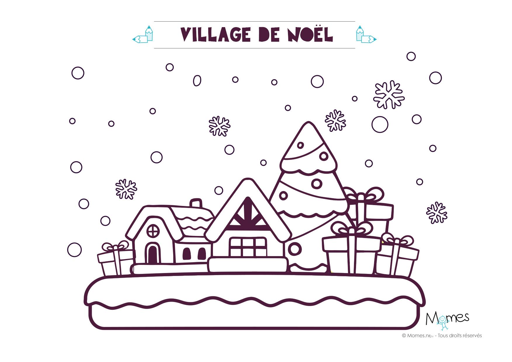 Coloriage de no l le village - Les dessin de noel ...