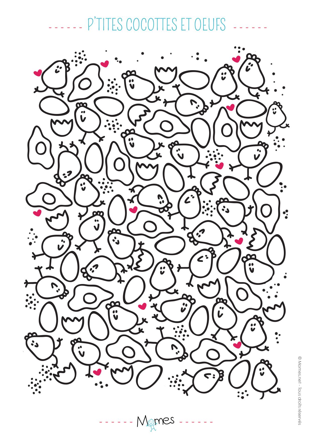 Coloriage Paques Poule.Coloriage De Paques Poules Et Oeufs Momes Net