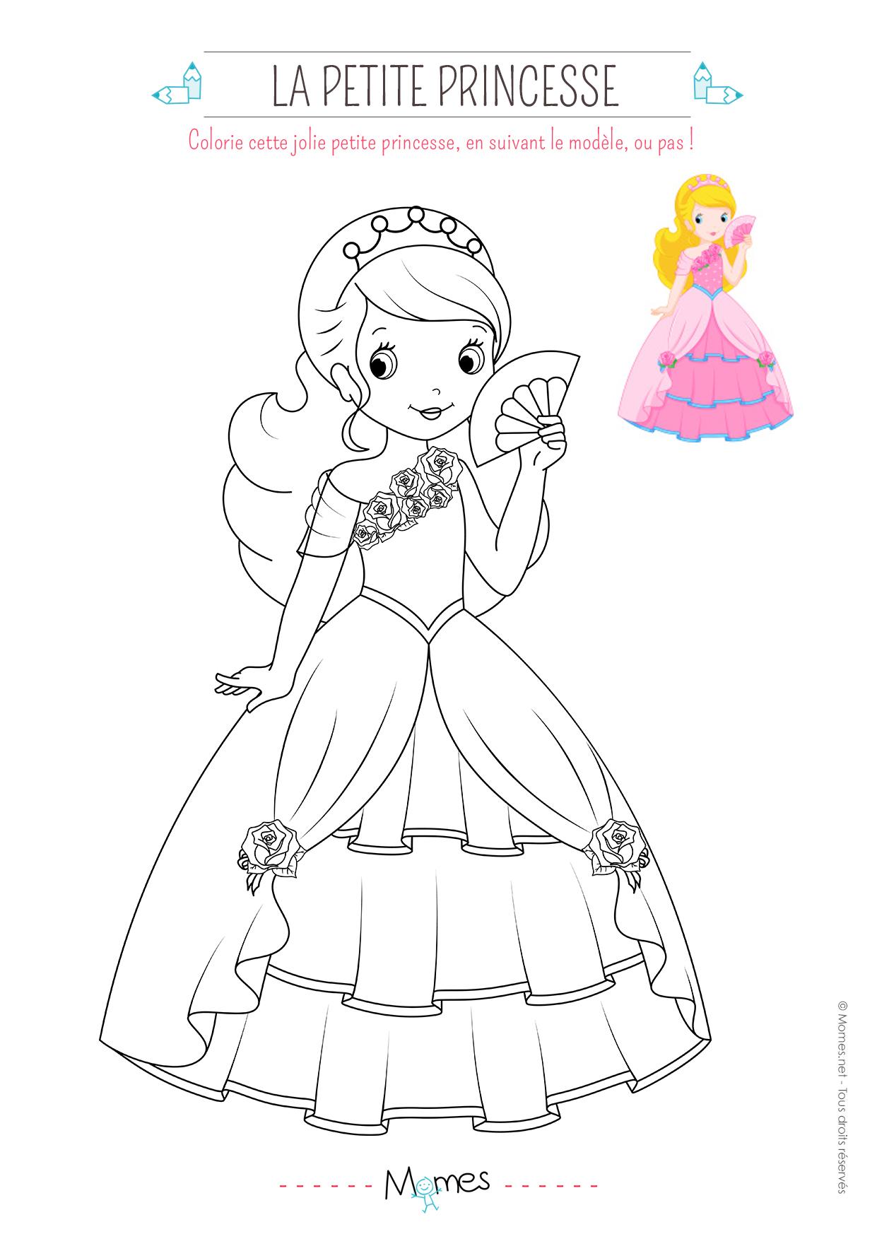 Coloriage de princesse avec modèle - Momes.net