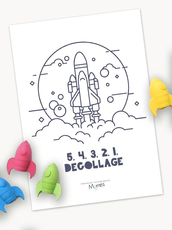 fusée à colorier