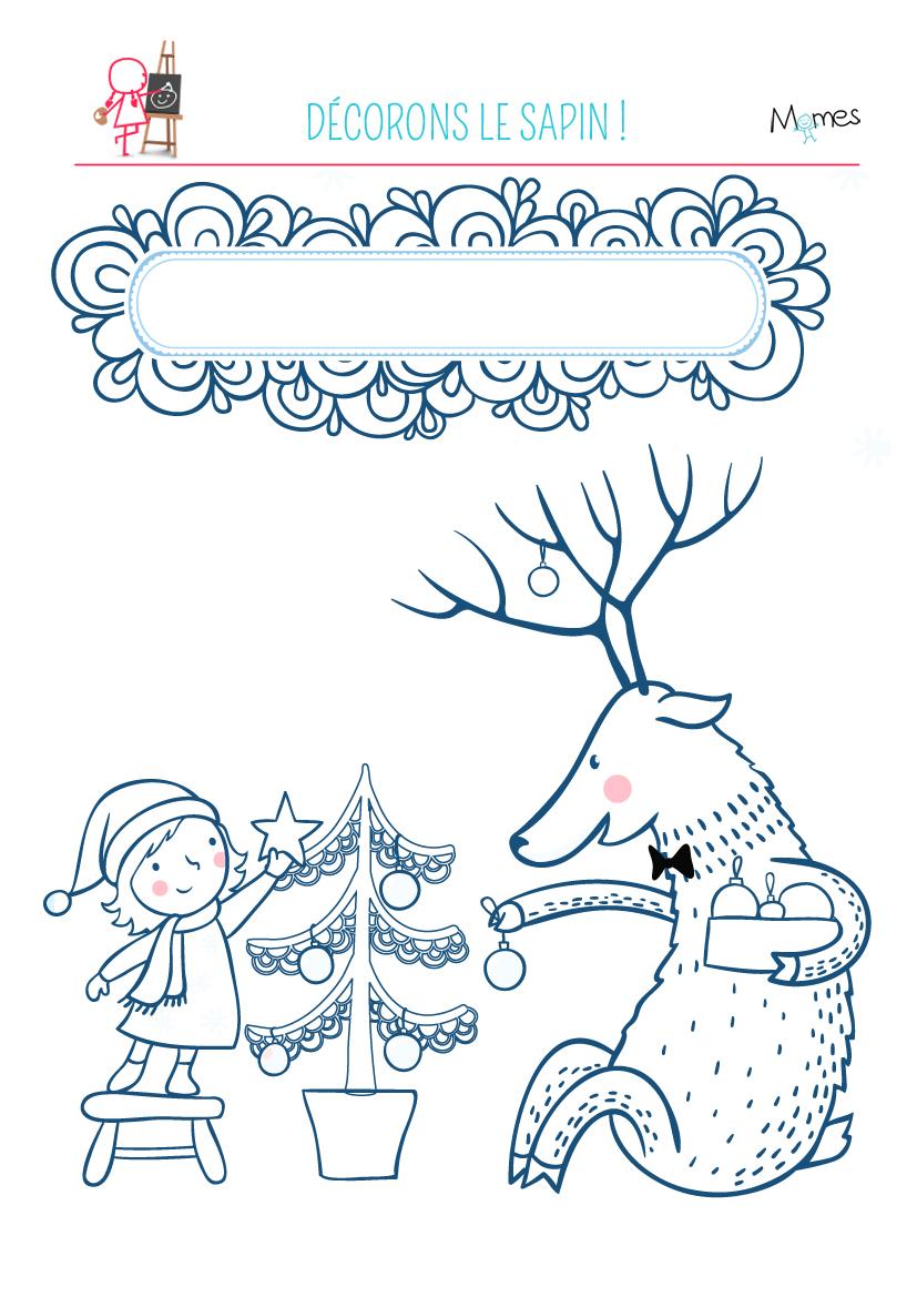 Coloriage Décorons le sapin de Noël - Momes.net