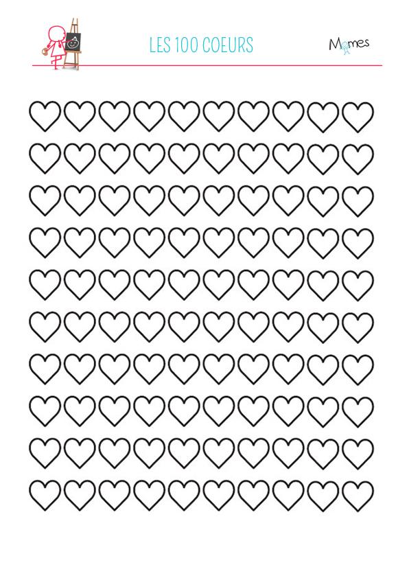 Coloriage des 100 coeurs aux milles couleurs - Coloriage avec des coeurs ...