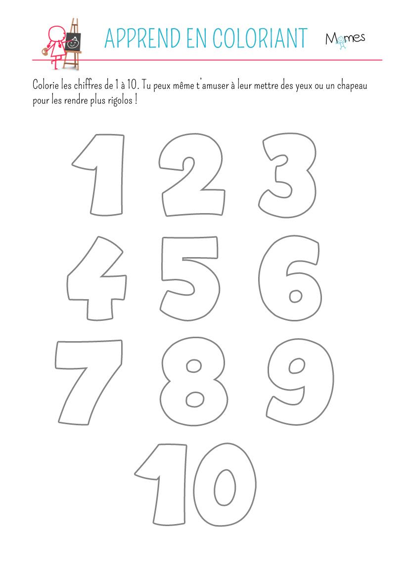 Coloriage des chiffres à imprimer