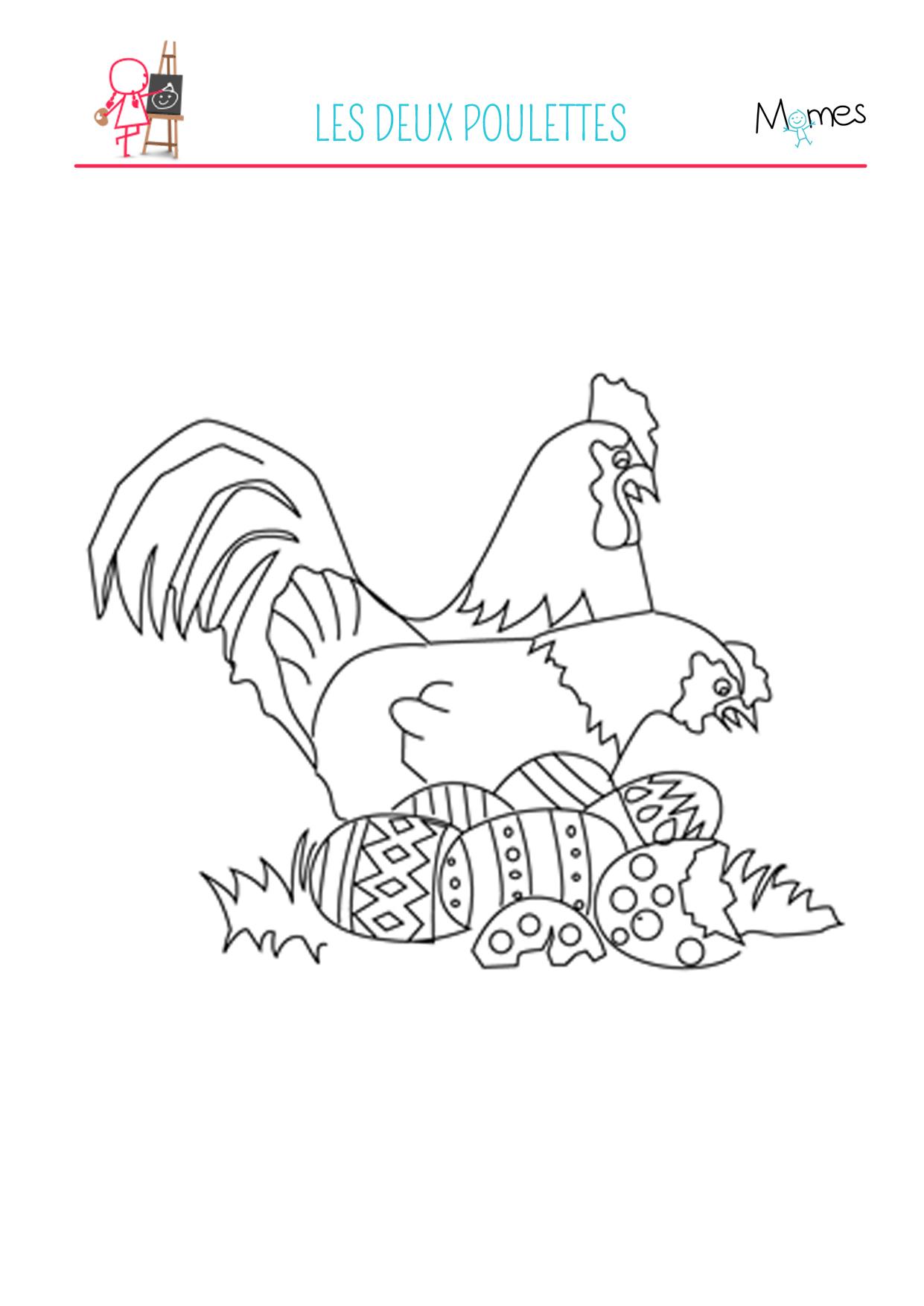 Coloriage des poules de p ques - Poules de paques ...