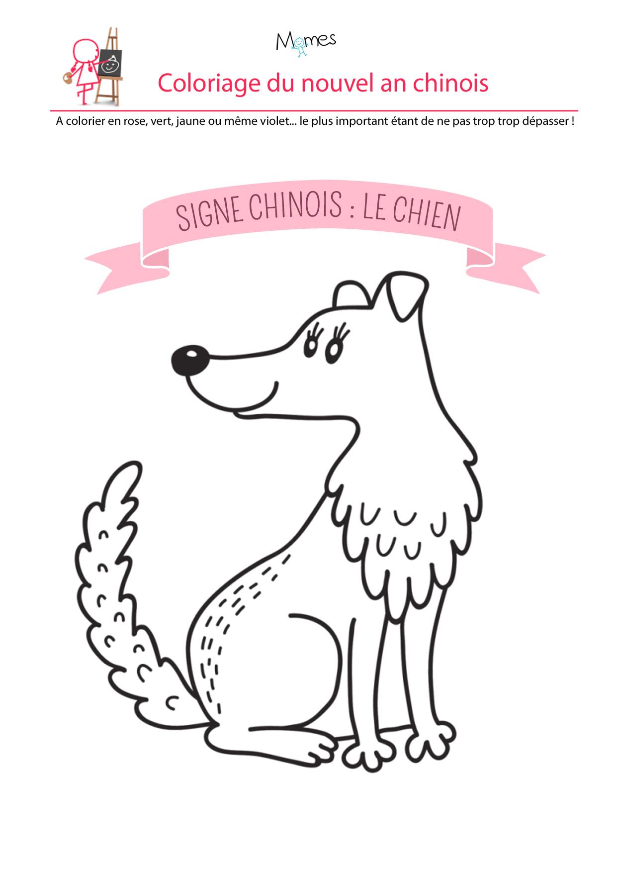 Coloriage du calendrier chinois : le chien