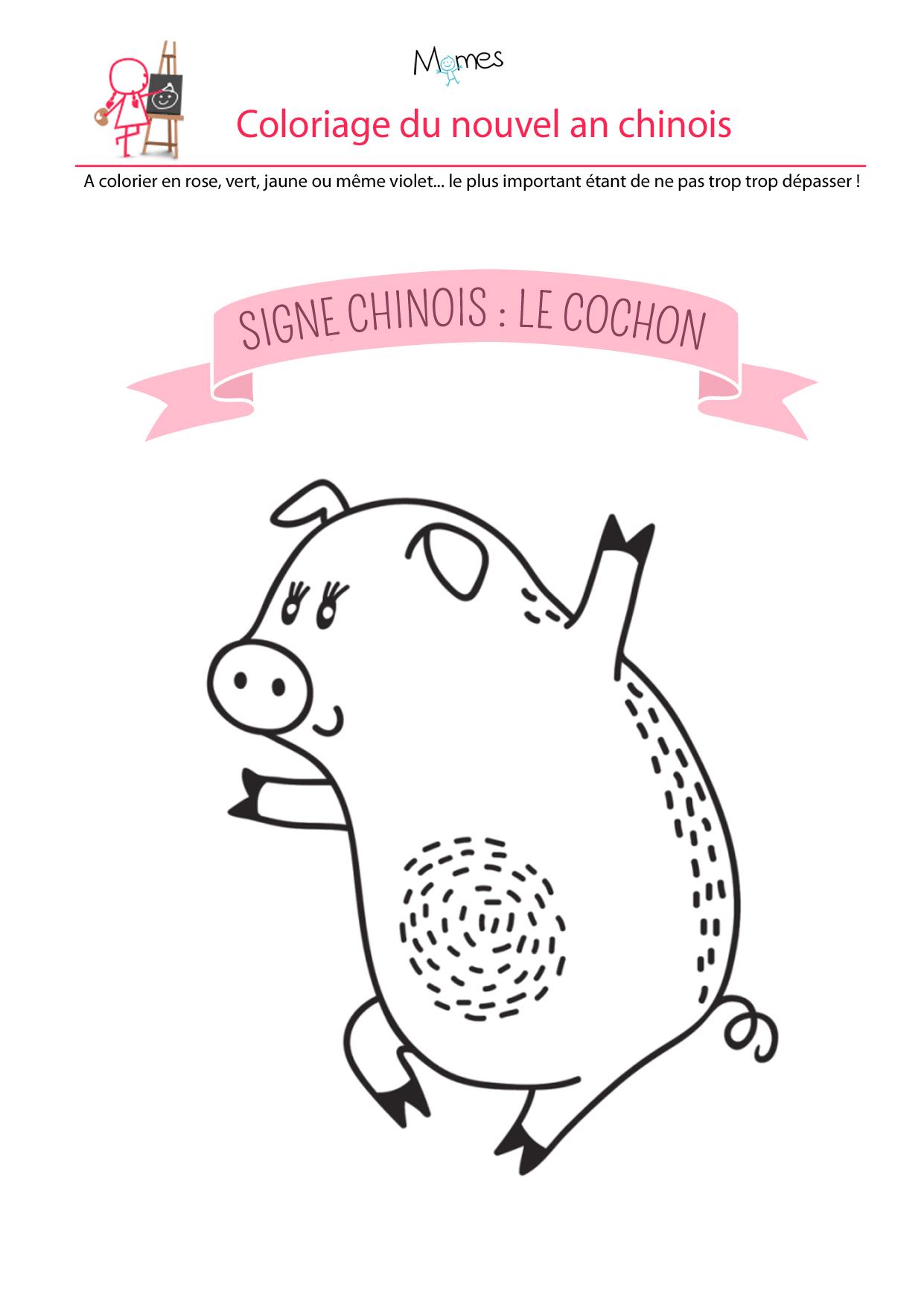 Coloriage du calendrier chinois : le cochon