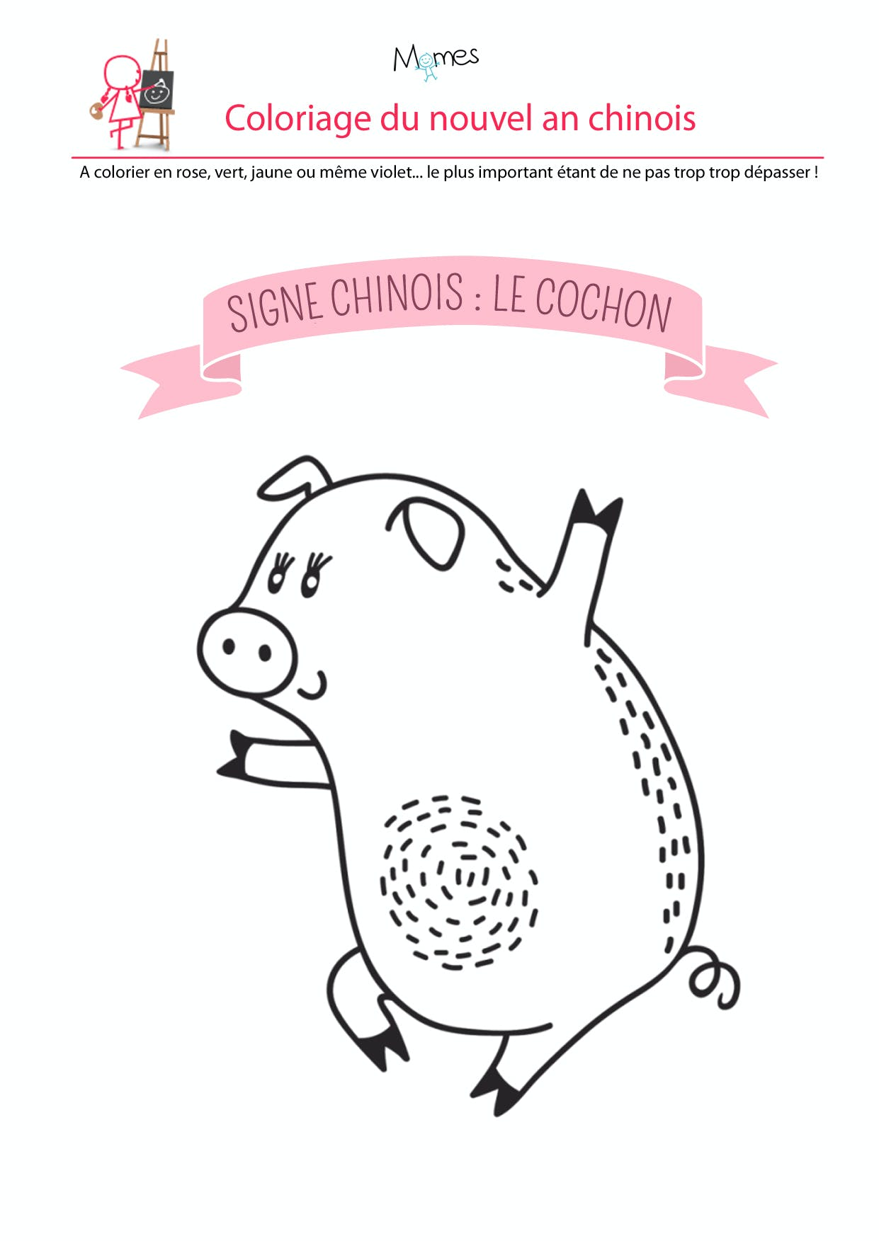 Coloriage du calendrier chinois : le cochon - Momes.net