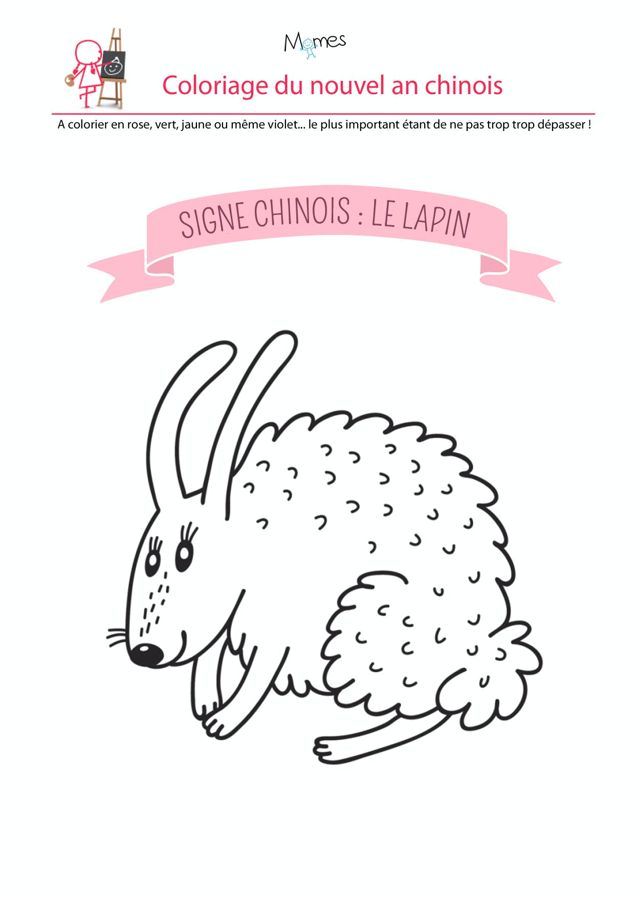 coloriages lapin zodiaque chinois