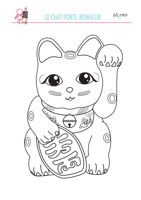 Coloriage du chat bonheur - Porte bonheur chinois chat ...