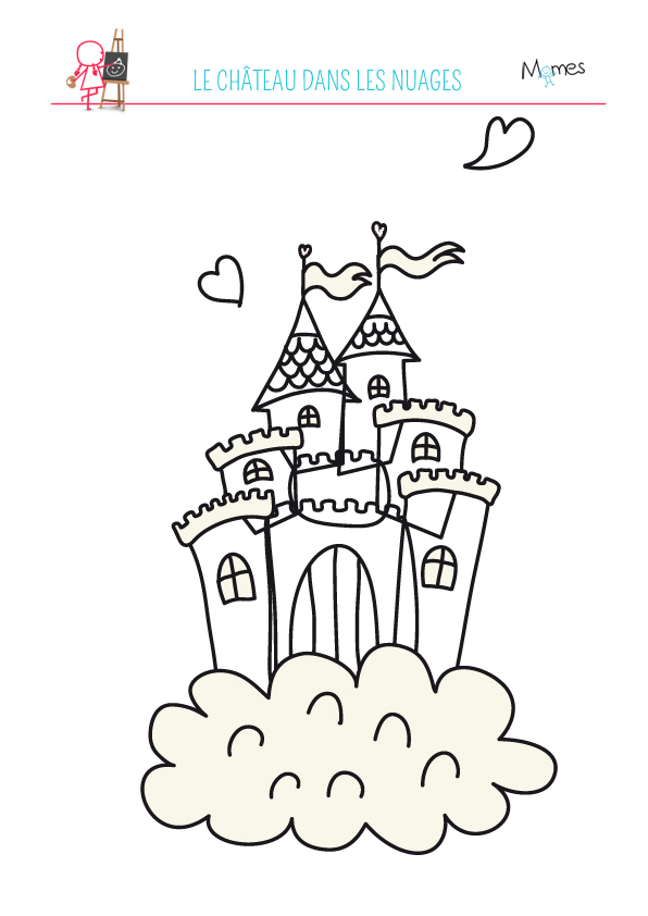 Coloriage du château dans les nuages