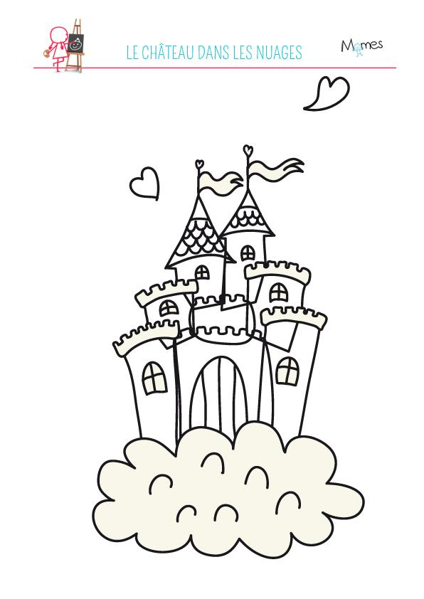 Coloriage du ch teau dans les nuages - Coloriage de chateau ...