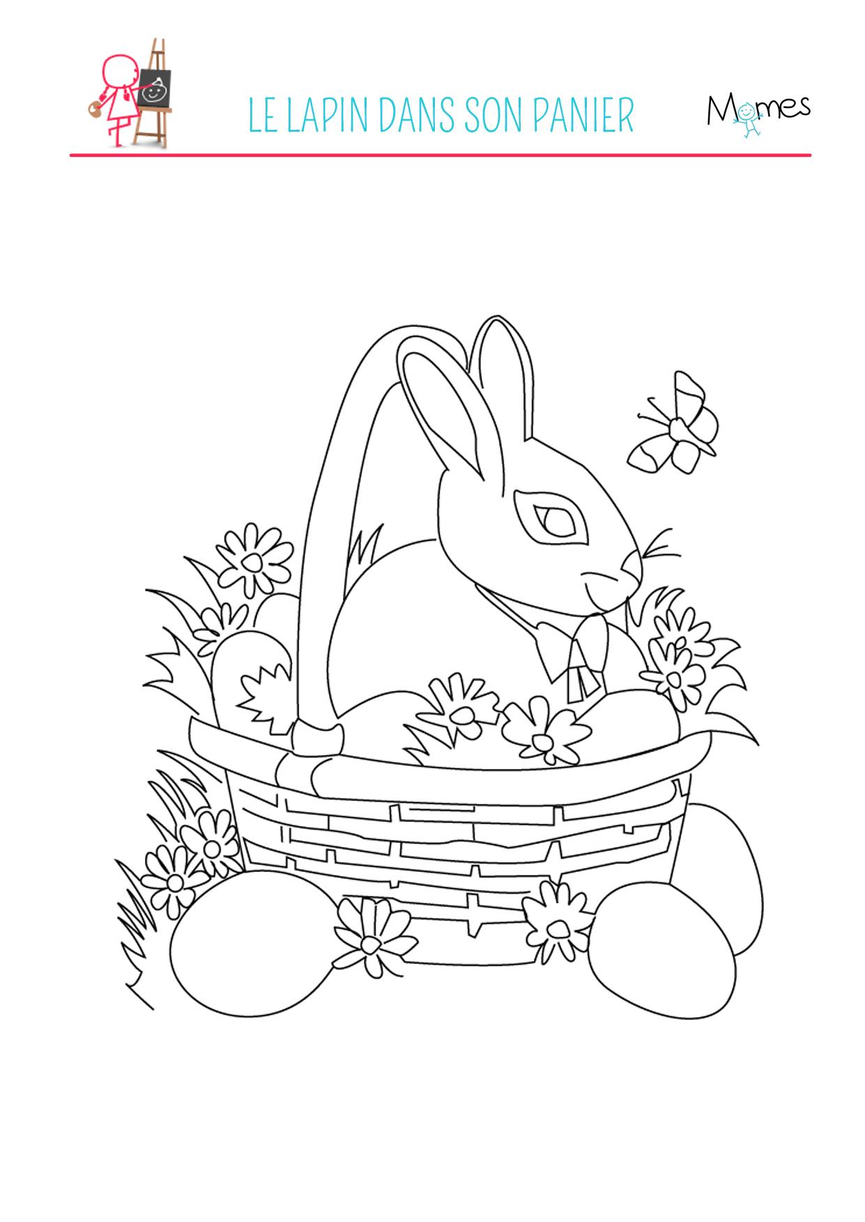 Coloriage du lapin de Pâques