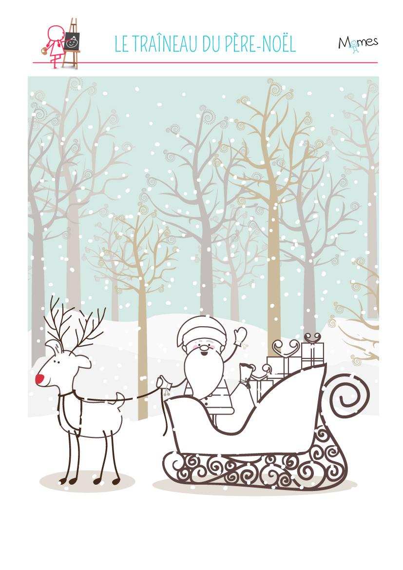 Coloriage à imprimer du Père Noël et son traineau