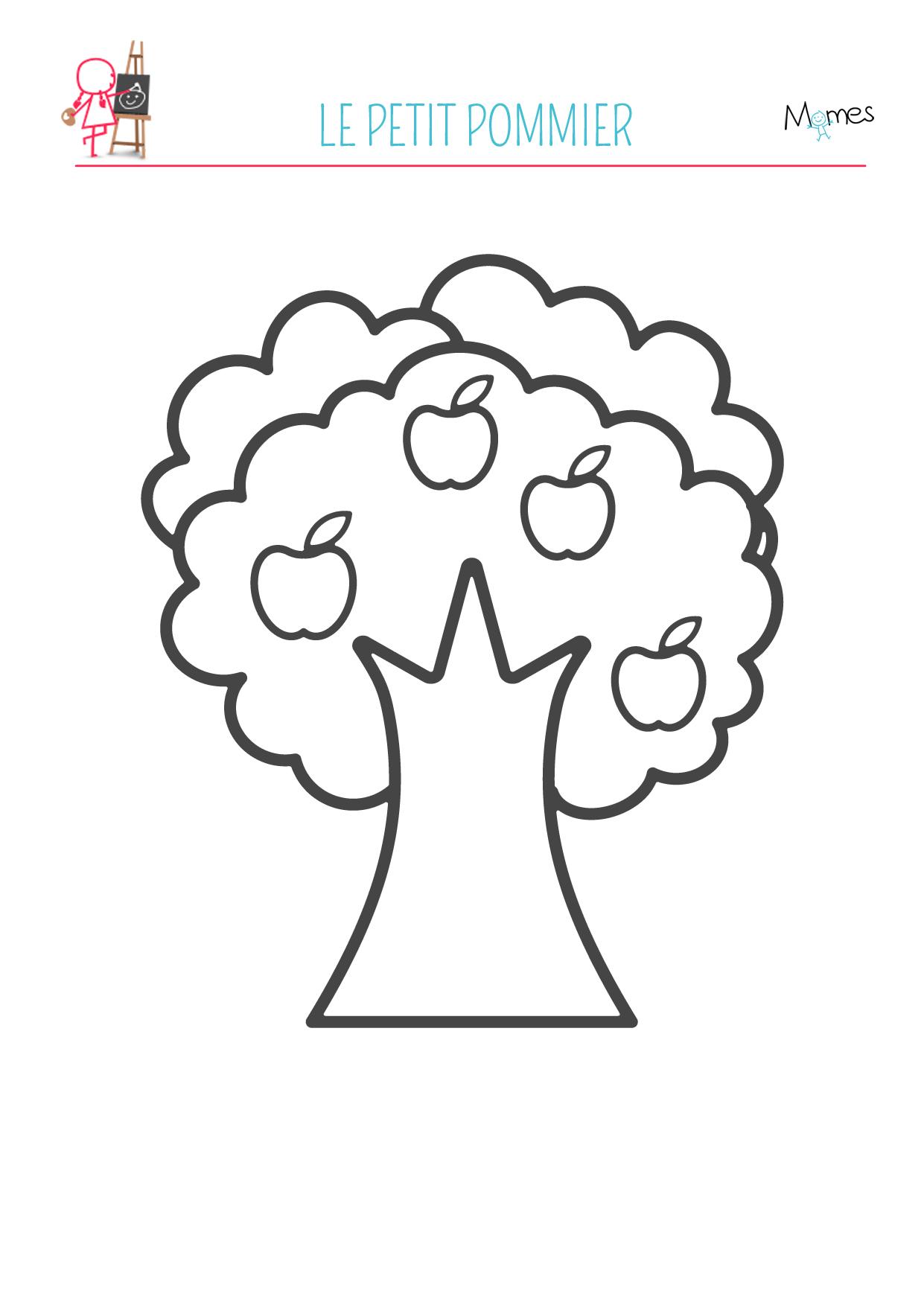 coloriage pomme pommier à imprimer