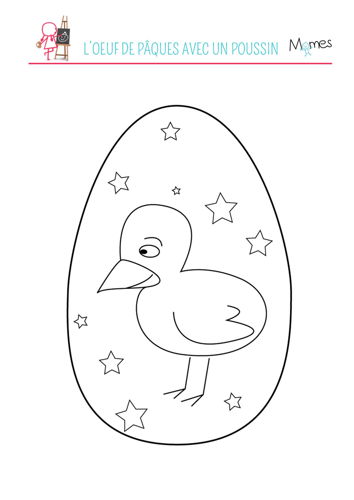 Coloriage du poussin dans l'œuf de Pâques