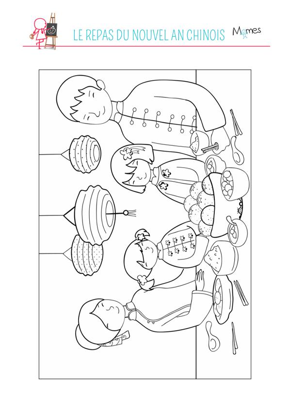 coloriage du repas du nouvel an chinois. Black Bedroom Furniture Sets. Home Design Ideas