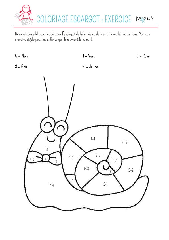 Coloriage escargot: exercice