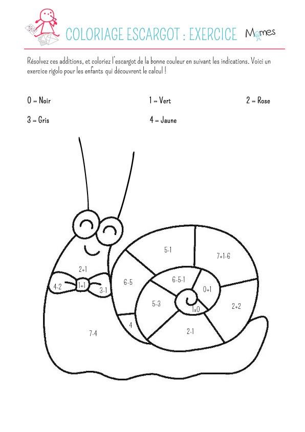 Coloriage escargot: exercice - Momes.net