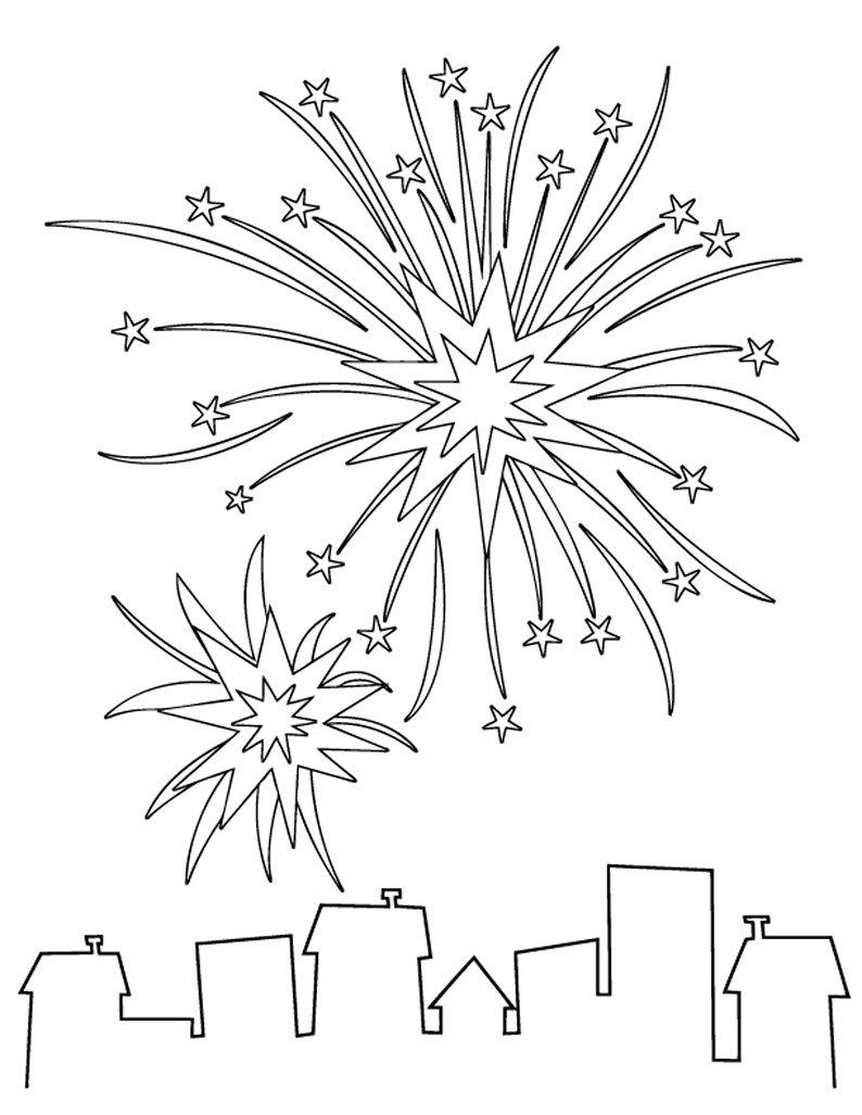 Coloriage explosion des feux d 39 artifice for Firework shape poems template