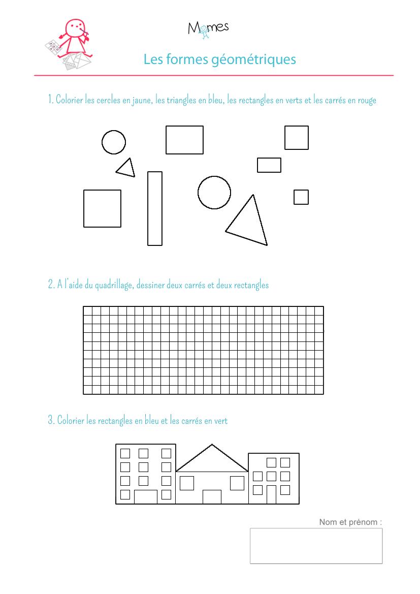 exercice à imprimer formes géometriques